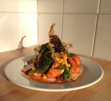 Chilli & Lime Salmon, Sour Fruit & herb Salad topped with Soy Tempura battered Watercress