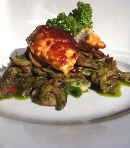Sticky & Rich Kecap Manis Barbeque Hunters Chicken with Herb Spiced Chestnut Mushrooms