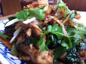 Smooth Stir-Fried Chicken, Chilli jam and Green Mango Hot/Cold Salad