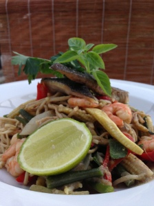 Crispy Fried Coley Fish and Prawn Green Curry Noodles with Vegetables and Coconut Cream