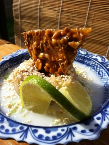 Banana Jam with Peanut & Toasted Coconut Praline, Salted Coconut Cream and Lime
