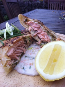 Thai Shallot, Chive, Ginger & smoked Salmon Roti with Peppered Coconut Cream