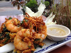 Lightly Spiced Tiger Prawn, Sweet Potato, Daikon & Thai Basil Fritter, Served With a Green Nham Jim Dipping Sauce