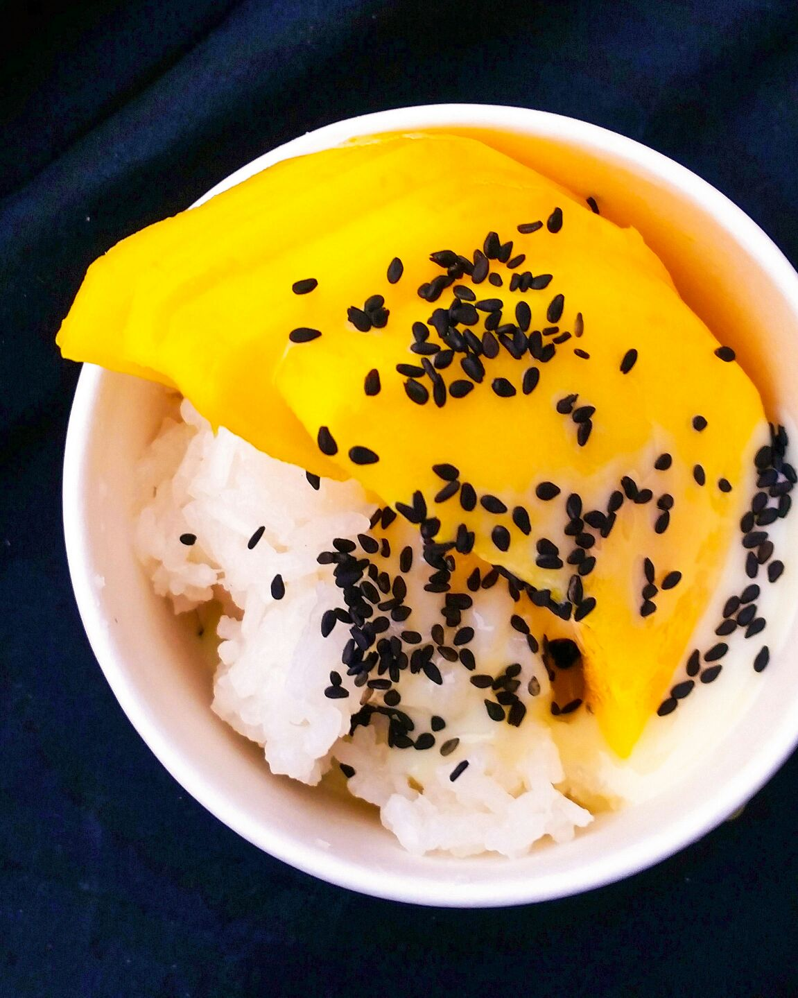 Mango sticky with condensed milk & salted black sesame seeds #1 (photo by Kaleem Hyder)
